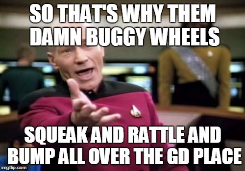 Picard Wtf Meme | SO THAT'S WHY THEM DAMN BUGGY WHEELS SQUEAK AND RATTLE AND BUMP ALL OVER THE GD PLACE | image tagged in memes,picard wtf | made w/ Imgflip meme maker
