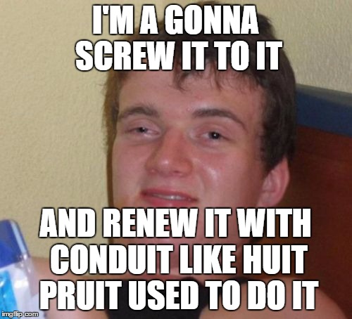 10 Guy Meme | I'M A GONNA SCREW IT TO IT AND RENEW IT WITH CONDUIT LIKE HUIT PRUIT USED TO DO IT | image tagged in memes,10 guy | made w/ Imgflip meme maker