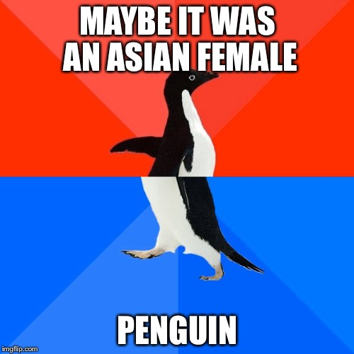 Socially Awesome Awkward Penguin Meme | MAYBE IT WAS AN ASIAN FEMALE PENGUIN | image tagged in memes,socially awesome awkward penguin | made w/ Imgflip meme maker