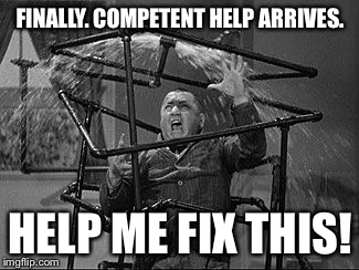 FINALLY. COMPETENT HELP ARRIVES. HELP ME FIX THIS! | made w/ Imgflip meme maker