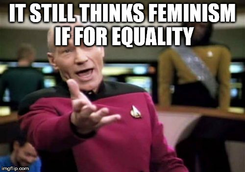 Picard Wtf Meme | IT STILL THINKS FEMINISM IF FOR EQUALITY | image tagged in memes,picard wtf | made w/ Imgflip meme maker