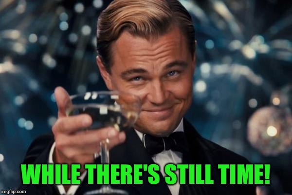 Leonardo Dicaprio Cheers Meme | WHILE THERE'S STILL TIME! | image tagged in memes,leonardo dicaprio cheers | made w/ Imgflip meme maker