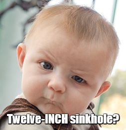 Skeptical Baby Meme | Twelve-INCH sinkhole? | image tagged in memes,skeptical baby | made w/ Imgflip meme maker