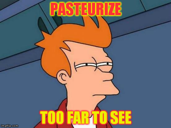 Futurama Fry Meme | PASTEURIZE TOO FAR TO SEE | image tagged in memes,futurama fry | made w/ Imgflip meme maker