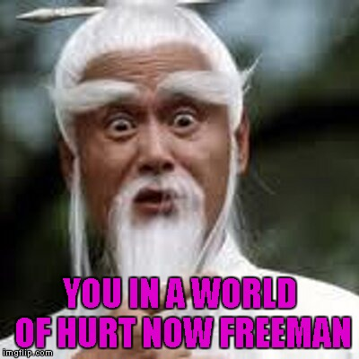 YOU IN A WORLD OF HURT NOW FREEMAN | made w/ Imgflip meme maker