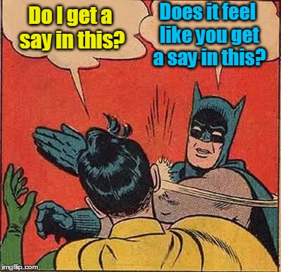 Batman Slapping Robin Meme | Do I get a say in this? Does it feel like you get a say in this? | image tagged in memes,batman slapping robin | made w/ Imgflip meme maker