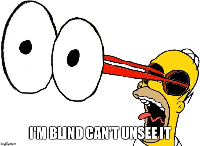 Homer eye pop | I'M BLIND CAN'T UNSEE IT | image tagged in homer eye pop | made w/ Imgflip meme maker