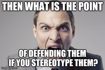 THEN WHAT IS THE POINT OF DEFENDING THEM IF YOU STEREOTYPE THEM? | made w/ Imgflip meme maker