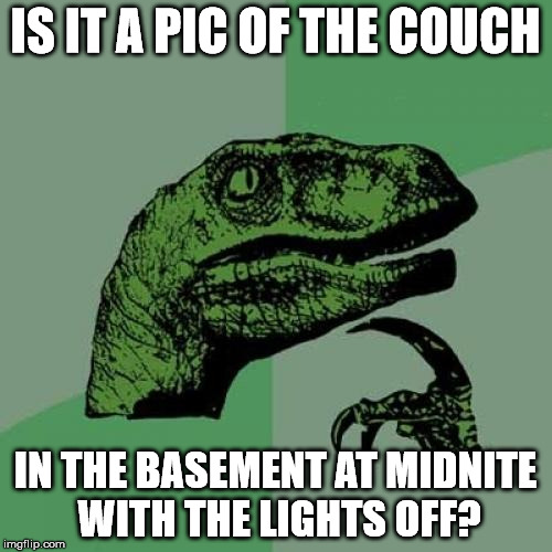 Philosoraptor Meme | IS IT A PIC OF THE COUCH IN THE BASEMENT AT MIDNITE WITH THE LIGHTS OFF? | image tagged in memes,philosoraptor | made w/ Imgflip meme maker
