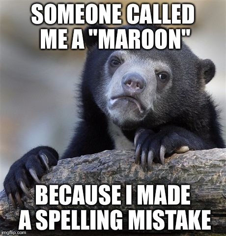 "Confession Bear Meme | SOMEONE CALLED ME A ""MAROON"" BECAUSE I MADE A SPELLING MISTAKE 