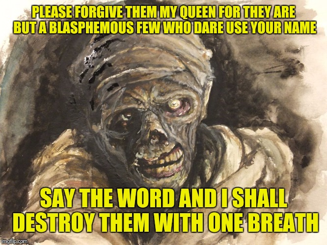 PLEASE FORGIVE THEM MY QUEEN FOR THEY ARE BUT A BLASPHEMOUS FEW WHO DARE USE YOUR NAME SAY THE WORD AND I SHALL DESTROY THEM WITH ONE BREATH | made w/ Imgflip meme maker