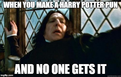 Snape | WHEN YOU MAKE A HARRY POTTER PUN AND NO ONE GETS IT | image tagged in memes,snape | made w/ Imgflip meme maker