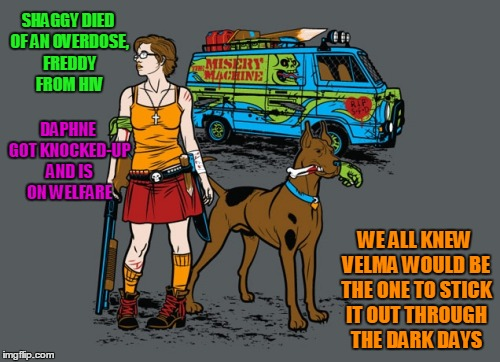 Deviantart Week: don't need to tear off a mask when the head is blood and bone splinters | SHAGGY DIED OF AN OVERDOSE, FREDDY FROM HIV WE ALL KNEW VELMA WOULD BE THE ONE TO STICK IT OUT THROUGH THE DARK DAYS DAPHNE GOT KNOCKED-UP A | image tagged in deviantart week,deviantart,memes | made w/ Imgflip meme maker