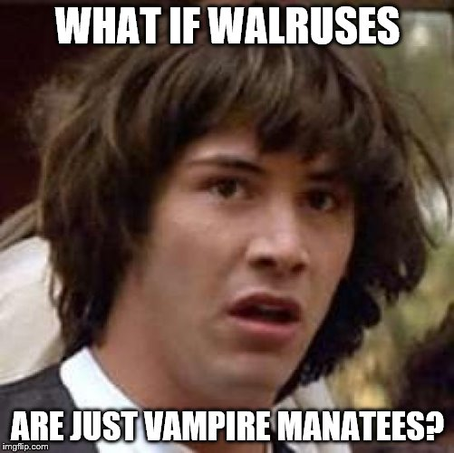 Conspiracy Keanu Meme | WHAT IF WALRUSES ARE JUST VAMPIRE MANATEES? | image tagged in memes,conspiracy keanu | made w/ Imgflip meme maker