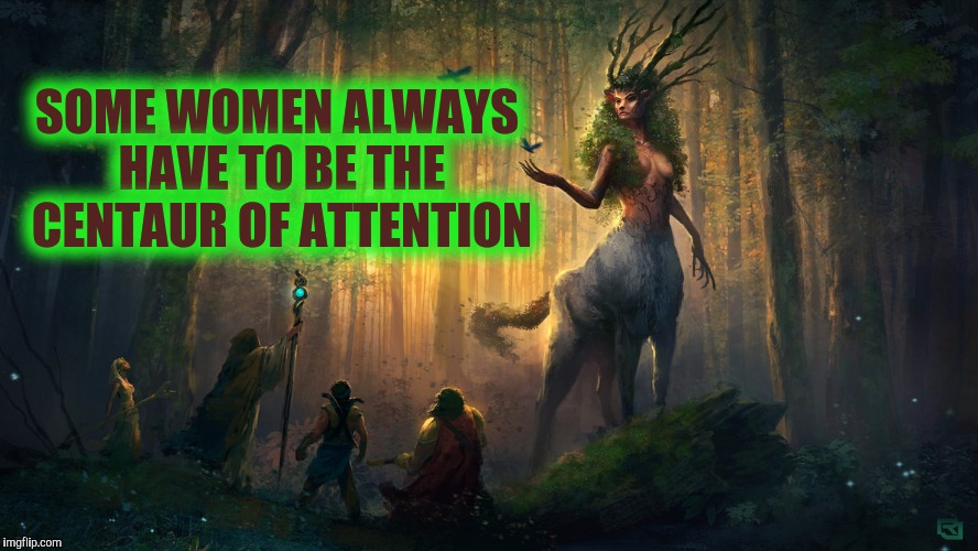 Just when you thought she might want to horse around: Deviant Art week | SOME WOMEN ALWAYS HAVE TO BE THE CENTAUR OF ATTENTION | image tagged in deviantart week,centaur,bad pun,guardian of the forest | made w/ Imgflip meme maker