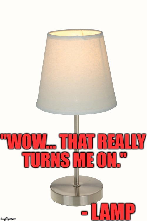 """WOW... THAT REALLY TURNS ME ON."" - LAMP 