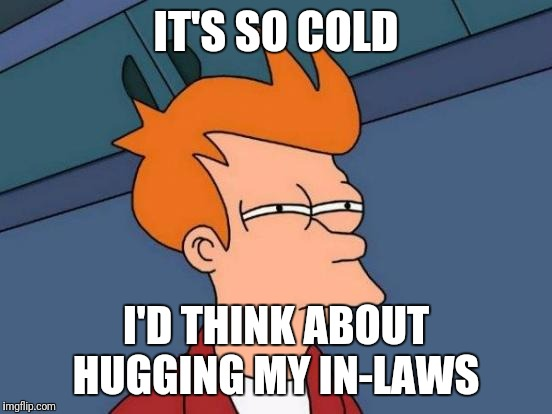 The Monster in-law! |  IT'S SO COLD; I'D THINK ABOUT HUGGING MY IN-LAWS | image tagged in memes,futurama fry,mother-in-law jokes,funny,stone cold | made w/ Imgflip meme maker