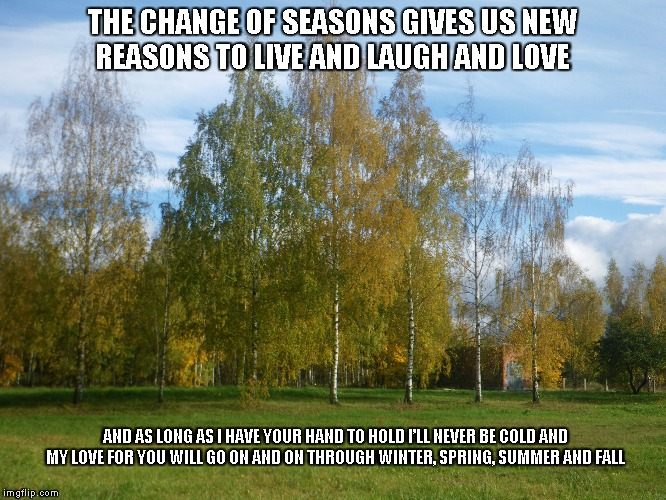 Change of Seasons | THE CHANGE OF SEASONSGIVES US NEW REASONSTO LIVE AND LAUGH AND LOVE AND AS LONG AS I HAVE YOUR HAND TO HOLDI'LL NEVER BE COLD AND MY LOVE | image tagged in seasons,love,change of seasons | made w/ Imgflip meme maker