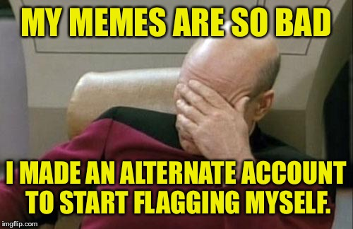 Flag my memes please! That way I know you saw them. |  MY MEMES ARE SO BAD; I MADE AN ALTERNATE ACCOUNT TO START FLAGGING MYSELF. | image tagged in memes,captain picard facepalm,flag,funny memes,dank memes | made w/ Imgflip meme maker