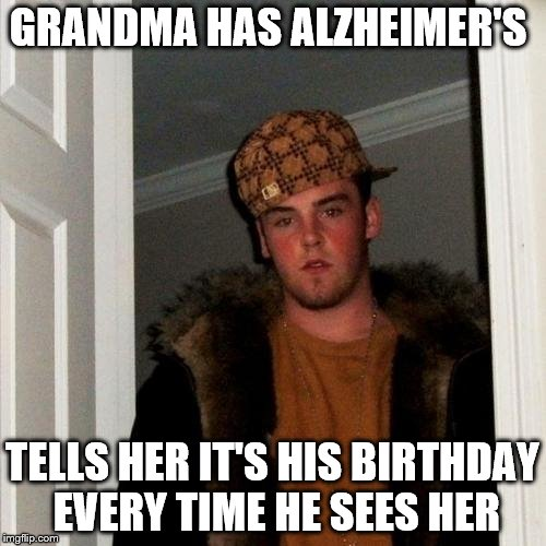 GRANDMA HAS ALZHEIMER'S TELLS HER IT'S HIS BIRTHDAY EVERY TIME HE SEES HER | made w/ Imgflip meme maker