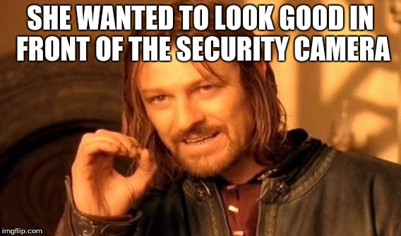 One Does Not Simply Meme | SHE WANTED TO LOOK GOOD IN FRONT OF THE SECURITY CAMERA | image tagged in memes,one does not simply | made w/ Imgflip meme maker
