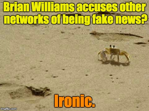 Little Acknowledged Fact Crab | Brian Williams accuses other networks of being fake news? Ironic. | image tagged in little acknowledged fact crab | made w/ Imgflip meme maker