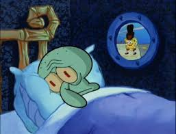 Squidward can't sleep with the spoons rattling Meme Template