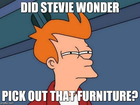 Futurama Fry Meme | DID STEVIE WONDER PICK OUT THAT FURNITURE? | image tagged in memes,futurama fry | made w/ Imgflip meme maker