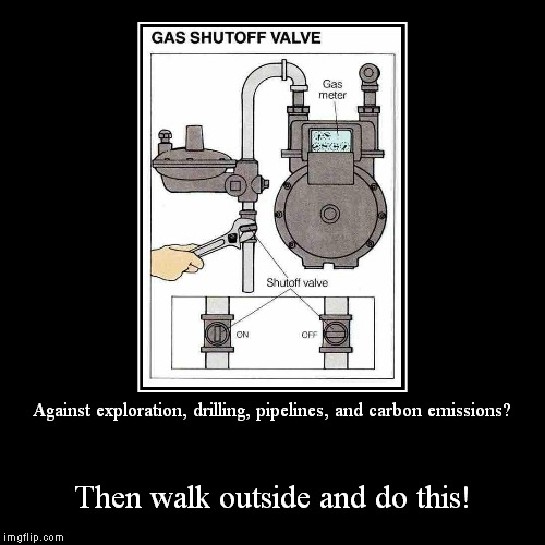 Do it now! | Against exploration, drilling, pipelines, and carbon emissions? | Then walk outside and do this! | image tagged in funny,demotivationals,liberal hypocrisy | made w/ Imgflip demotivational maker