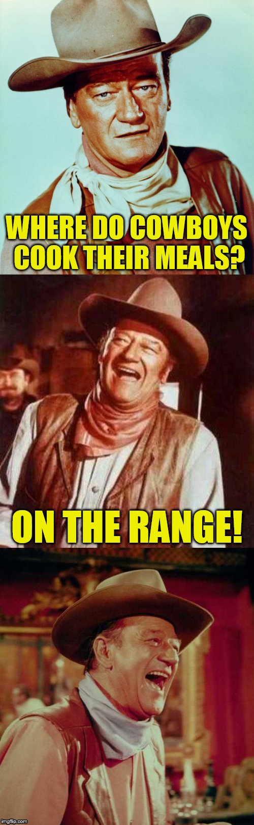 John Wayne Puns | WHERE DO COWBOYS COOK THEIR MEALS? ON THE RANGE! | image tagged in john wayne puns,jokes,memes,funny memes,john wayne,cowboys | made w/ Imgflip meme maker