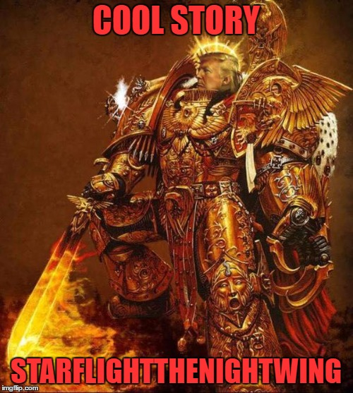 Trump Flame Warrior | COOL STORY STARFLIGHTTHENIGHTWING | image tagged in trump flame warrior | made w/ Imgflip meme maker