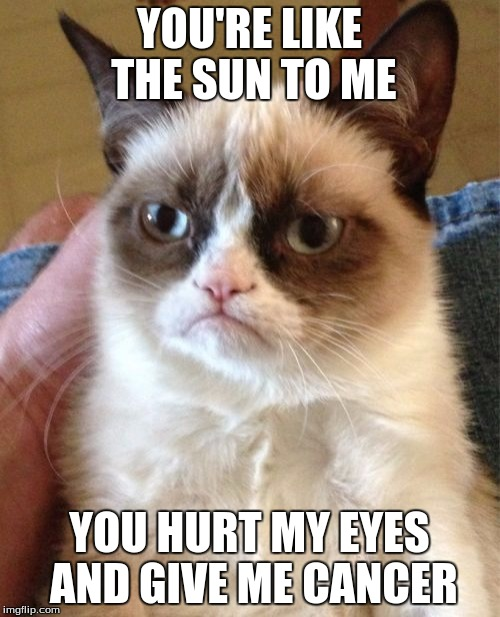 Grumpy Cat Meme | YOU'RE LIKE THE SUN TO ME YOU HURT MY EYES AND GIVE ME CANCER | image tagged in memes,grumpy cat | made w/ Imgflip meme maker