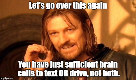 One Does Not Simply Meme | Let's go over this again You have just sufficient brain cells to text OR drive, not both. | image tagged in memes,one does not simply | made w/ Imgflip meme maker