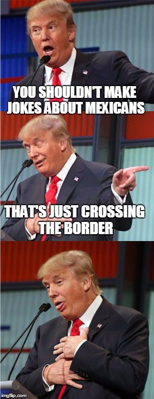 Bad Pun Trump | YOU SHOULDN'T MAKE JOKES ABOUT MEXICANS THAT'S JUST CROSSING THE BORDER | image tagged in bad pun trump | made w/ Imgflip meme maker