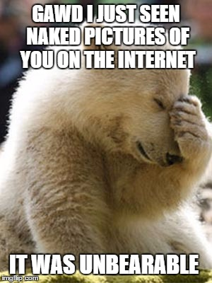 Facepalm Bear |  GAWD I JUST SEEN NAKED PICTURES OF YOU ON THE INTERNET; IT WAS UNBEARABLE | image tagged in memes,facepalm bear | made w/ Imgflip meme maker