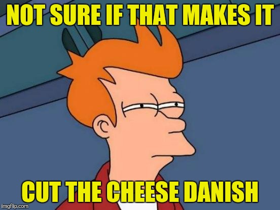 Futurama Fry Meme | NOT SURE IF THAT MAKES IT CUT THE CHEESE DANISH | image tagged in memes,futurama fry | made w/ Imgflip meme maker