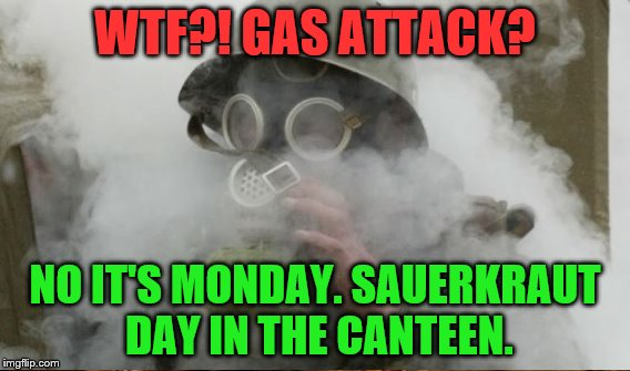 WTF?! GAS ATTACK? NO IT'S MONDAY. SAUERKRAUT DAY IN THE CANTEEN. | made w/ Imgflip meme maker