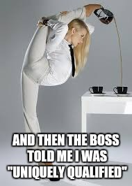 "UNIQUE QUALIFICATIONS  | AND THEN THE BOSS TOLD ME I WAS ""UNIQUELY QUALIFIED"" 