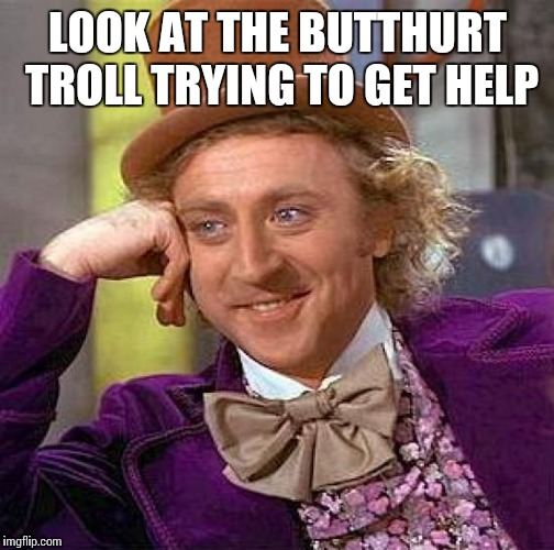 Creepy Condescending Wonka Meme | LOOK AT THE BUTTHURT TROLL TRYING TO GET HELP | image tagged in memes,creepy condescending wonka | made w/ Imgflip meme maker