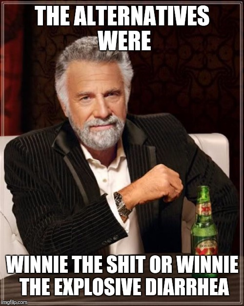 The Most Interesting Man In The World Meme | THE ALTERNATIVES WERE WINNIE THE SHIT OR WINNIE THE EXPLOSIVE DIARRHEA | image tagged in memes,the most interesting man in the world | made w/ Imgflip meme maker