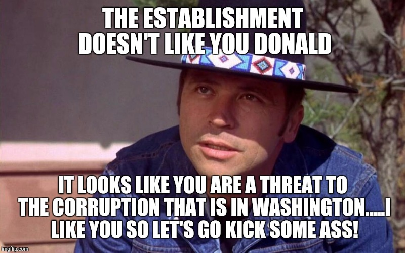 THE ESTABLISHMENT DOESN'T LIKE YOU DONALD IT LOOKS LIKE YOU ARE A THREAT TO THE CORRUPTION THAT IS IN WASHINGTON.....I LIKE YOU SO LET'S GO  | image tagged in billy jack | made w/ Imgflip meme maker