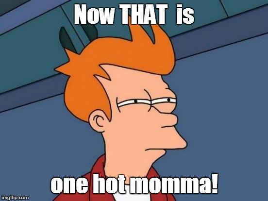 Futurama Fry Meme | Now THAT  is one hot momma! | image tagged in memes,futurama fry | made w/ Imgflip meme maker