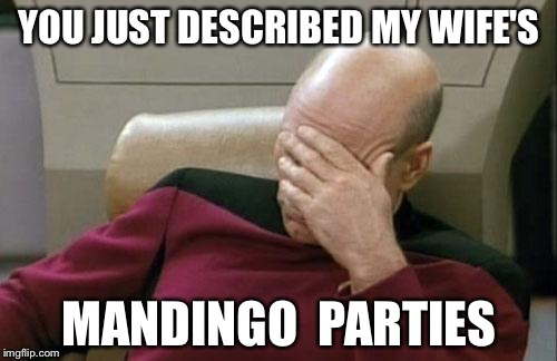 Captain Picard Facepalm Meme | YOU JUST DESCRIBED MY WIFE'S MANDINGO  PARTIES | image tagged in memes,captain picard facepalm | made w/ Imgflip meme maker