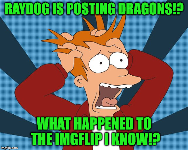 Fry Losing His Mind | RAYDOG IS POSTING DRAGONS!? WHAT HAPPENED TO THE IMGFLIP I KNOW!? | image tagged in fry losing his mind | made w/ Imgflip meme maker