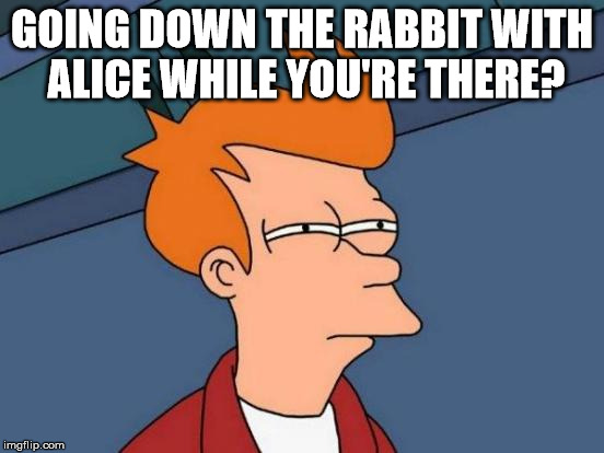 Futurama Fry Meme | GOING DOWN THE RABBIT WITH ALICE WHILE YOU'RE THERE? | image tagged in memes,futurama fry | made w/ Imgflip meme maker