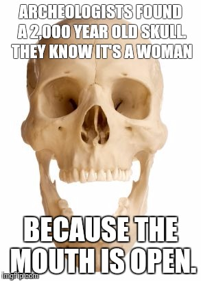 Like an ex girlfriend of mine, she never quit talking! | ARCHEOLOGISTS FOUND A 2,000 YEAR OLD SKULL. THEY KNOW IT'S A WOMAN BECAUSE THE MOUTH IS OPEN. | image tagged in skull | made w/ Imgflip meme maker