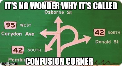 IT'S NO WONDER WHY IT'S CALLED CONFUSION CORNER | made w/ Imgflip meme maker
