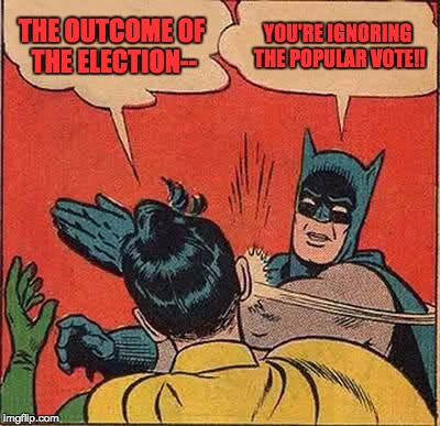 Batman Slapping Robin Meme | THE OUTCOME OF THE ELECTION-- YOU'RE IGNORING THE POPULAR VOTE!! | image tagged in memes,batman slapping robin | made w/ Imgflip meme maker