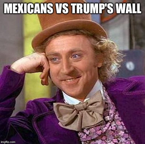 Creepy Condescending Wonka Meme | MEXICANS VS TRUMP'S WALL | image tagged in memes,creepy condescending wonka | made w/ Imgflip meme maker