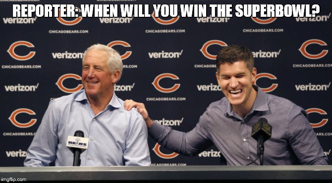 REPORTER: WHEN WILL YOU WIN THE SUPERBOWL? | image tagged in bears | made w/ Imgflip meme maker